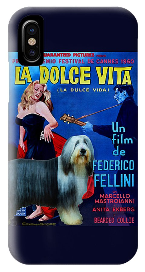 Bearded Collie IPhone X Case featuring the painting Bearded Collie Art Canvas Print - La Dolce Vita Movie Poster by Sandra Sij