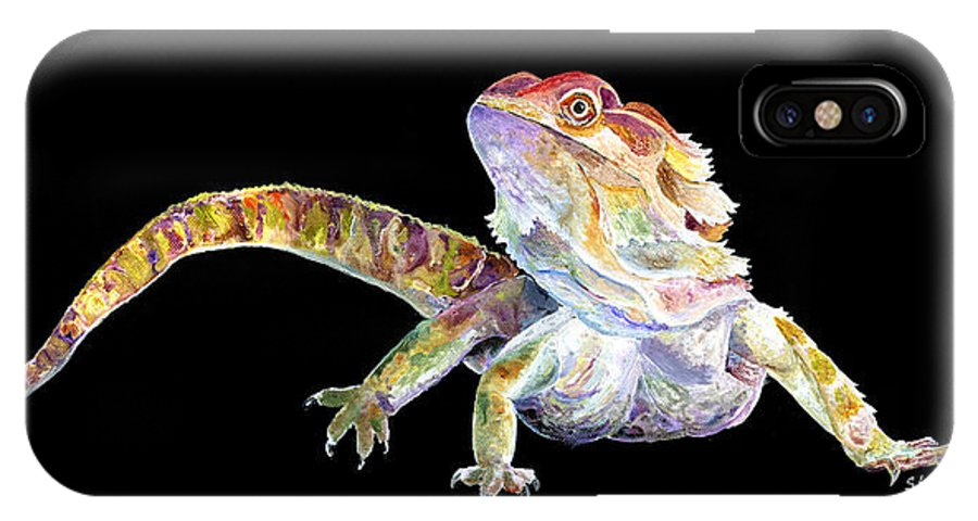 Bearded Dragon IPhone X / XS Case featuring the painting Bearded Dragon by Sherry Shipley