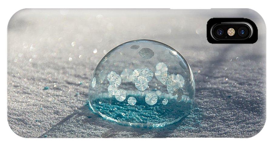 Frozen Bubbles IPhone X Case featuring the photograph Beautiful Blue Bubble by Cheryl Baxter