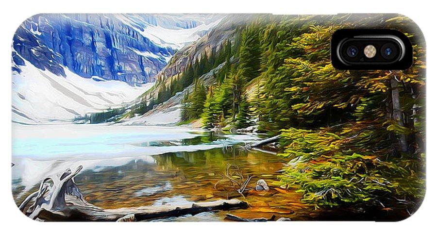 Lake IPhone X / XS Case featuring the digital art Beautiful Lake Agnes by John Kreiter
