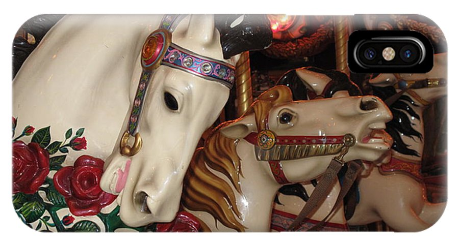 Carousel IPhone X Case featuring the photograph Beautiful Ponies Rwp Carousel by Barbara McDevitt