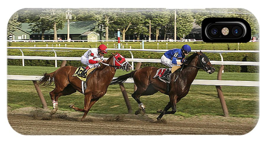 Saratoga Race Track 2013 IPhone X Case featuring the photograph Beautiful Runner by Eric Swan