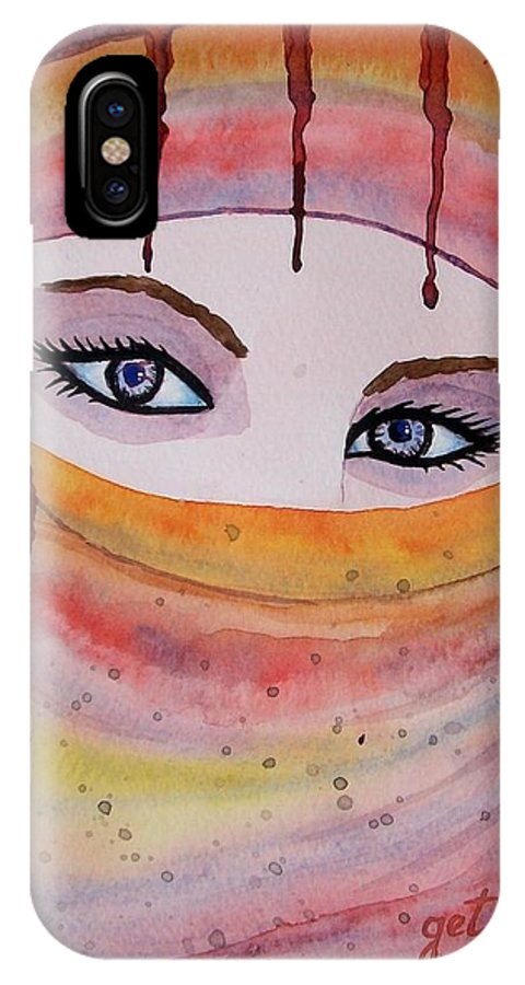 Midlle Eastern Woman IPhone X Case featuring the painting Beautiful Woman With Niqab Watercolor Painting by Georgeta Blanaru