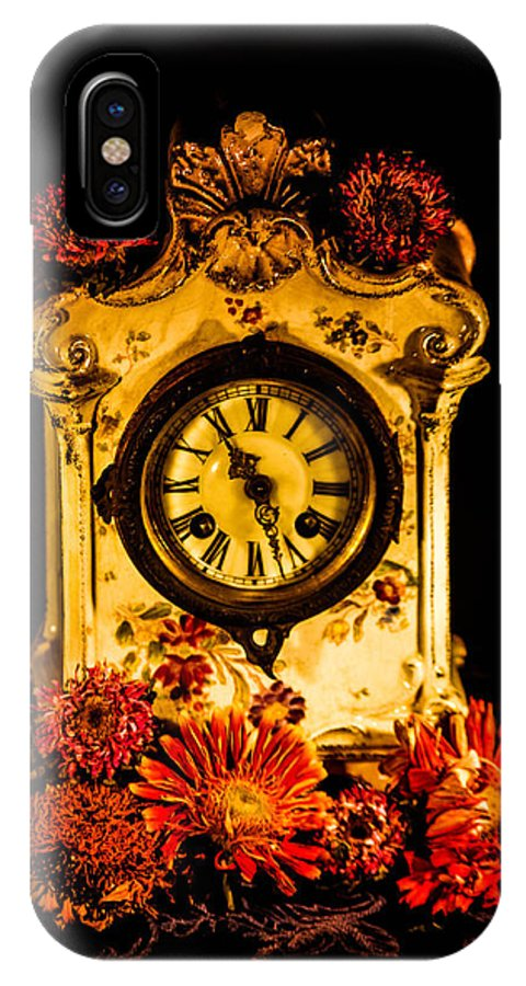 Clock With Flowers IPhone X / XS Case featuring the photograph Beauty And Time by Gerald Kloss