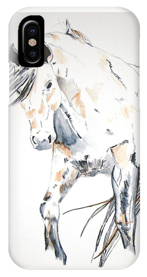 Horse IPhone X Case featuring the painting Beauty by Crystal Hubbard