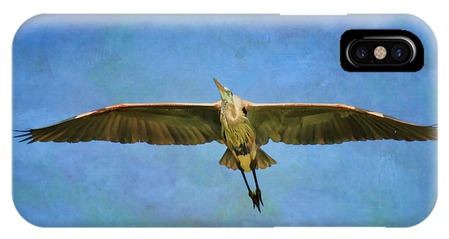 Blue Heron IPhone X / XS Case featuring the photograph Beauty Of Flight Textured by Deborah Benoit
