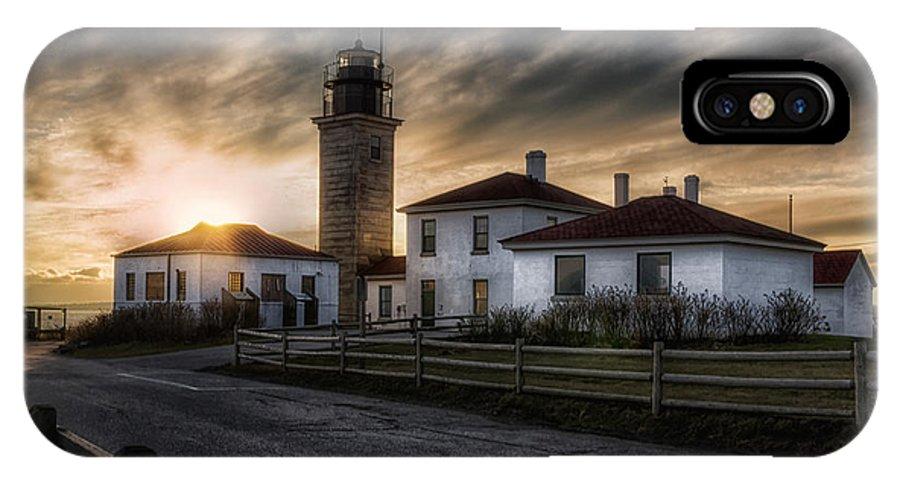 Joan Carroll IPhone X Case featuring the photograph Beavertail Lighthouse Sunset by Joan Carroll