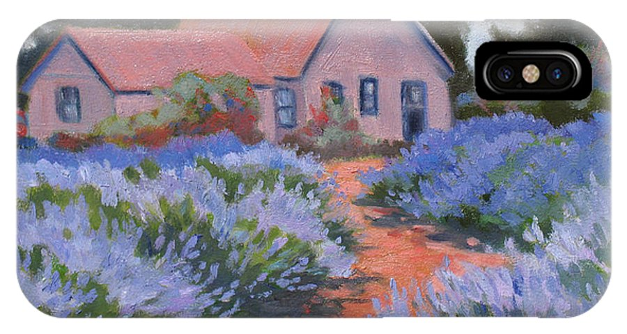 Lavender IPhone X Case featuring the painting Beekman Lavender Field by Rhett Regina Owings