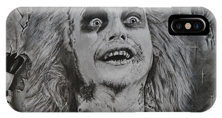 Movie Beetlejuice Michael Keaton IPhone X Case featuring the drawing Beetlejuice by S G Williams