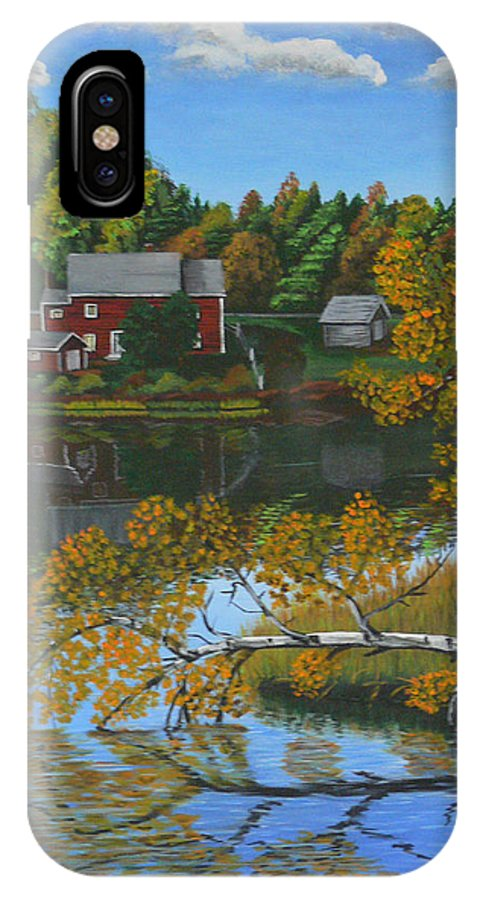 Murray River IPhone X Case featuring the painting Behind Rollie's House by Lorraine Vatcher
