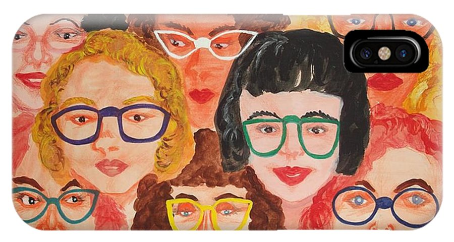 Eyeglasses IPhone X Case featuring the painting Behind The Lenses by Marjudy Royo