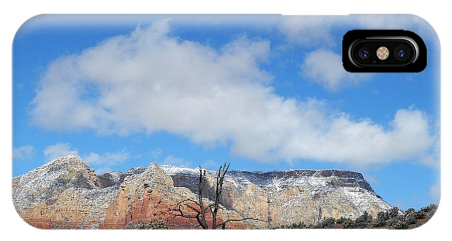 Snow IPhone X Case featuring the photograph Behold The Blue Sky by Lynda Lehmann