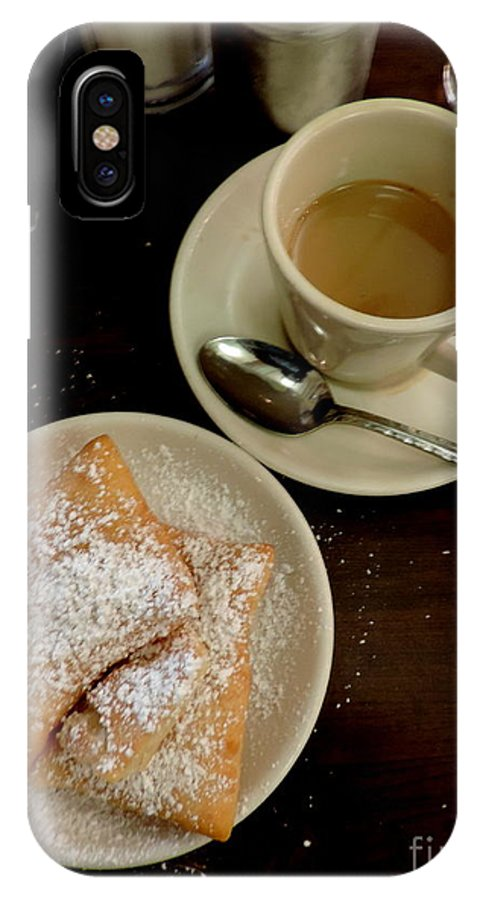 Nola IPhone X Case featuring the photograph New Orleans Beignets And Coffee Au Lait by Michael Hoard