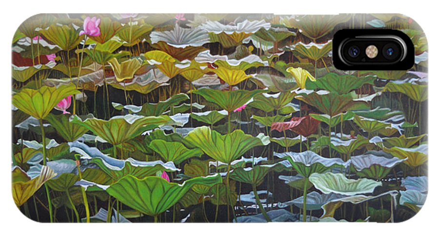 Waterlily IPhone X Case featuring the painting Beijing In August by Thu Nguyen