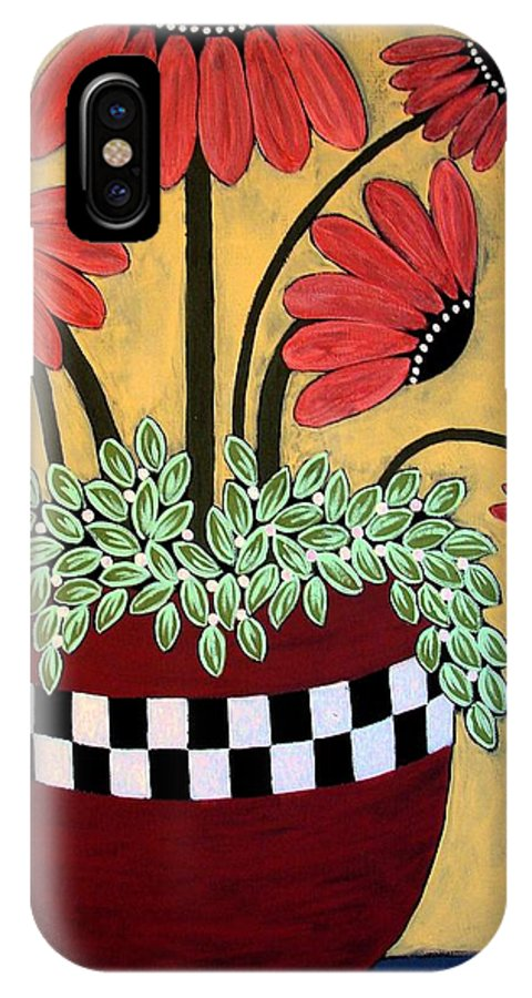 Daisy IPhone X Case featuring the painting Bejeweled by Linda Stewart