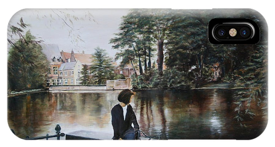 Water IPhone X Case featuring the painting Belgium Reflections In Water by Jennifer Lycke