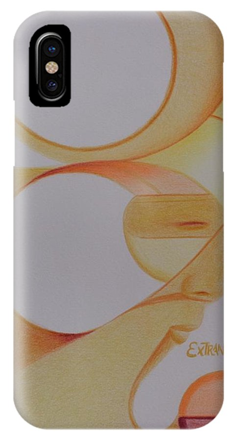 Oval Abstract Faces IPhone X / XS Case featuring the drawing Bellas Caras by Isaac Leal