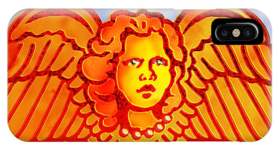 Angel IPhone X Case featuring the digital art Beloved Rememberance by Del Gaizo