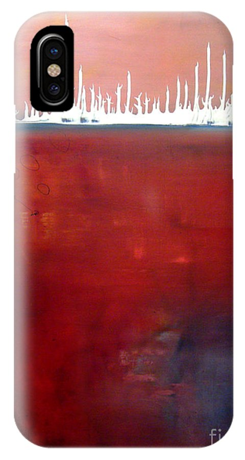 Abstract IPhone X Case featuring the painting Below by Jeff Barrett