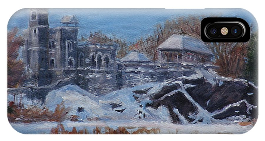 New York City IPhone X Case featuring the painting Belvedere Castle Central Park Nyc by Chris Weir