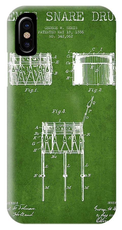 Snare Drum IPhone X / XS Case featuring the digital art Bemis Snare Drum Patent Drawing From 1886 - Green by Aged Pixel