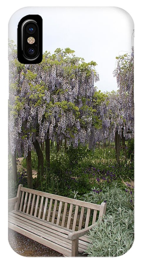 Flowers IPhone X Case featuring the photograph Bench And Wisteria by Christiane Schulze Art And Photography