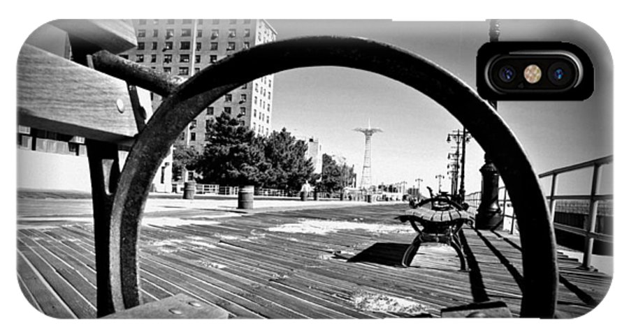 Coney Island Bench View Boardwalk IPhone X Case featuring the photograph Bench View Black/white by Alice Gipson