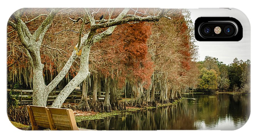 Park Bench IPhone X Case featuring the photograph Bench With A View by Carolyn Marshall