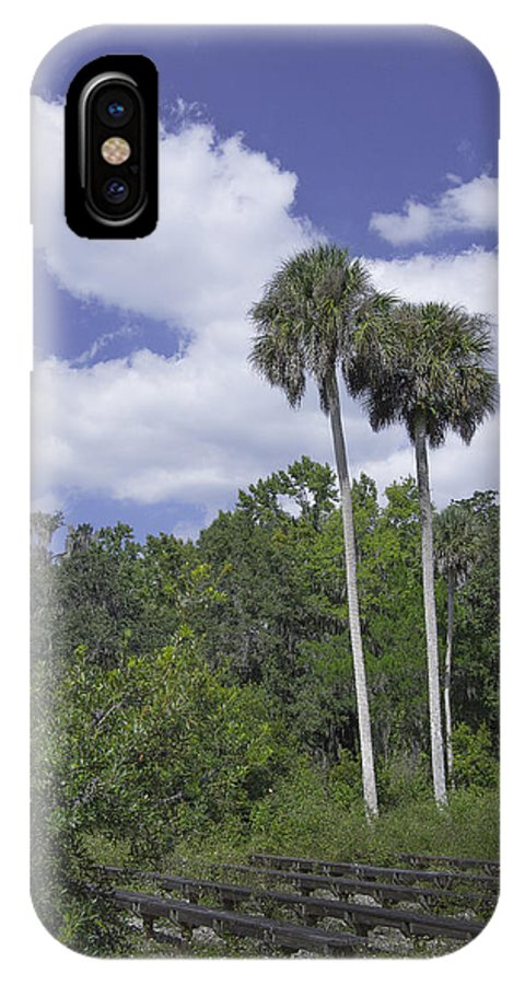 Trees IPhone X Case featuring the photograph Benched At Rainbow Springs Campground by Judy Hall-Folde