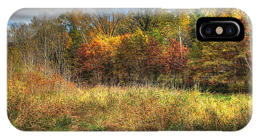Autumn IPhone X Case featuring the photograph Benched In Autumn by Jimmy Ostgard