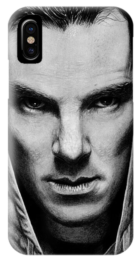 Benedict IPhone X Case featuring the drawing Benedict Cumberbatch by Kayleigh Semeniuk