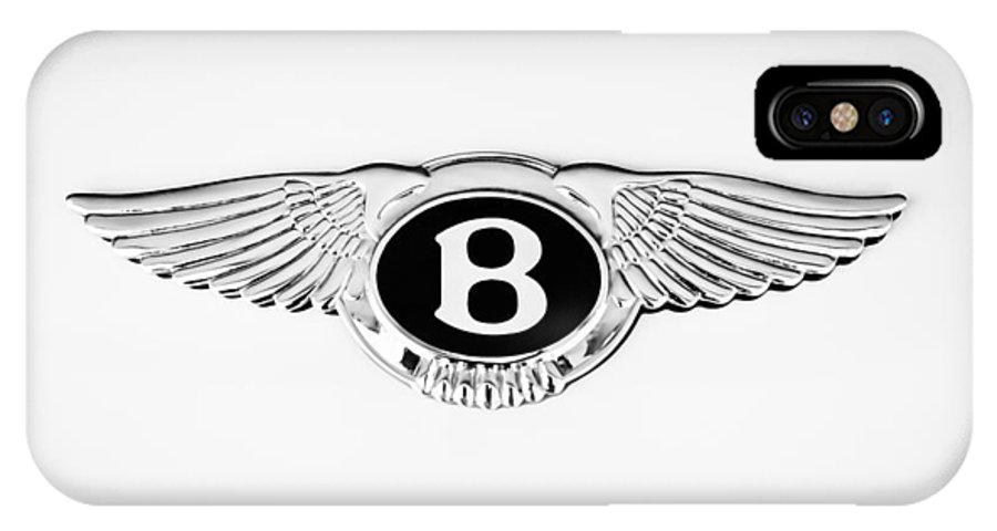 Bentley Emblem IPhone X Case featuring the photograph Bentley Emblem -0082c by Jill Reger