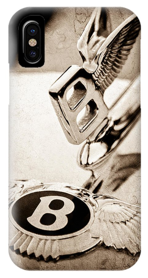 Bentley Hood Ornament IPhone X Case featuring the photograph Bentley Hood Ornament - Emblem by Jill Reger