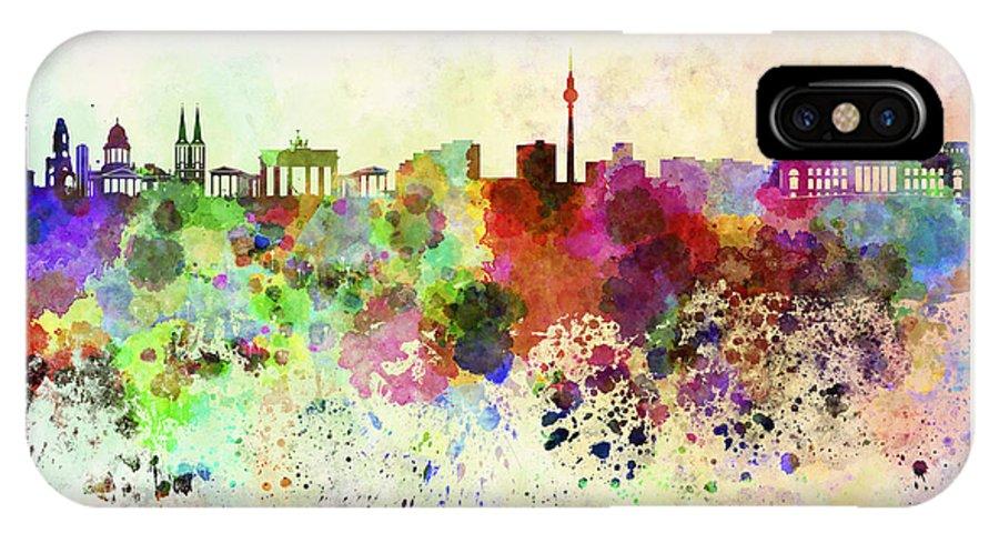 Berlin Skyline IPhone X Case featuring the digital art Berlin Skyline In Watercolor Background by Pablo Romero