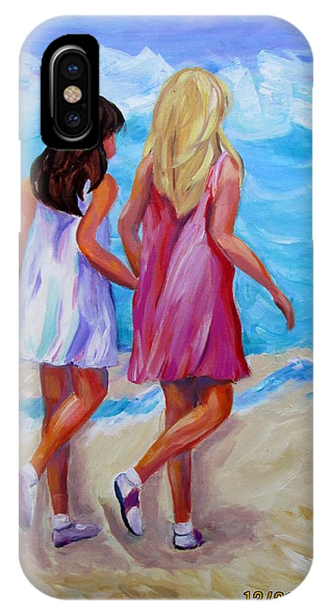 Girls IPhone X / XS Case featuring the painting Best Friends Forever by Rosie Sherman
