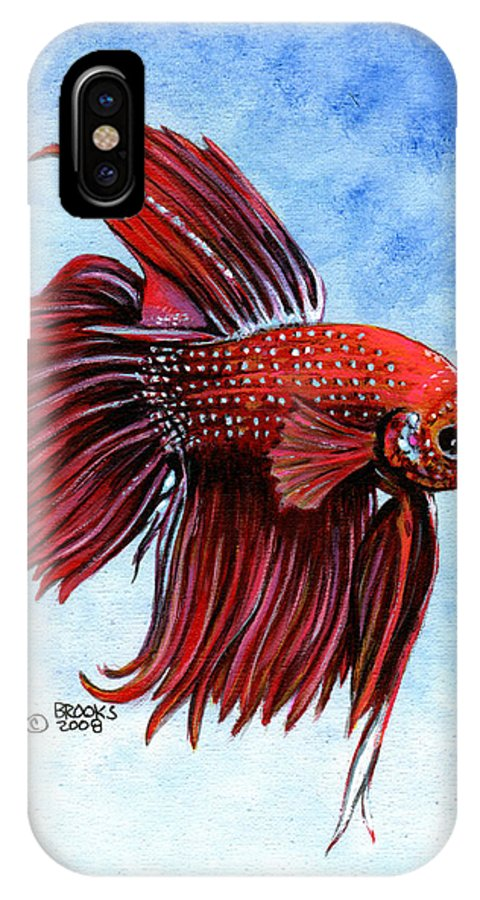 Fish IPhone X Case featuring the painting Betta-big Red by Richard Brooks