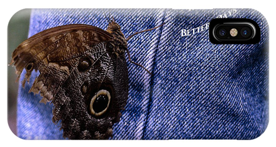 Owl Butterfly On Jeans IPhone X Case featuring the photograph Better Days by Sally Weigand