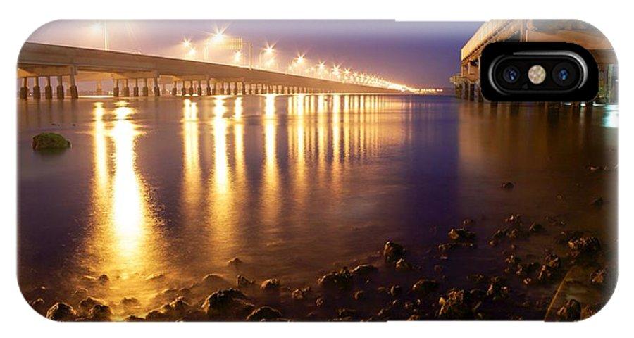 Beach IPhone X Case featuring the photograph Between Two Bridges by Matt Sheumack