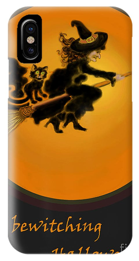 Halloween IPhone X Case featuring the painting Betwitched by Carol Jacobs