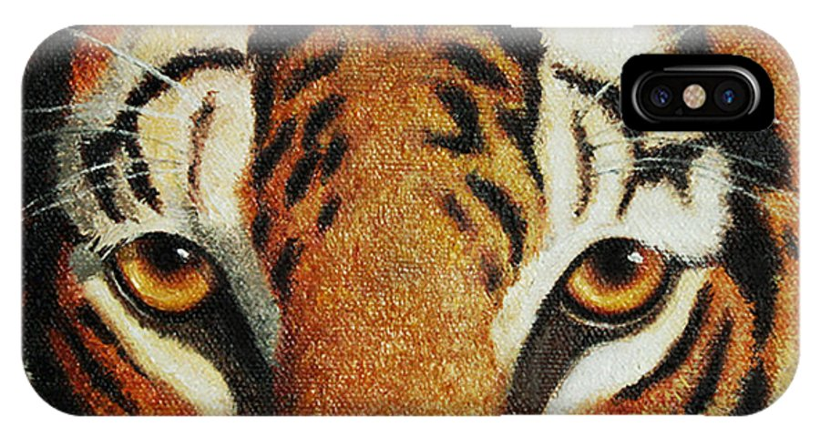 Tiger IPhone X Case featuring the painting Beware by Crista Forest