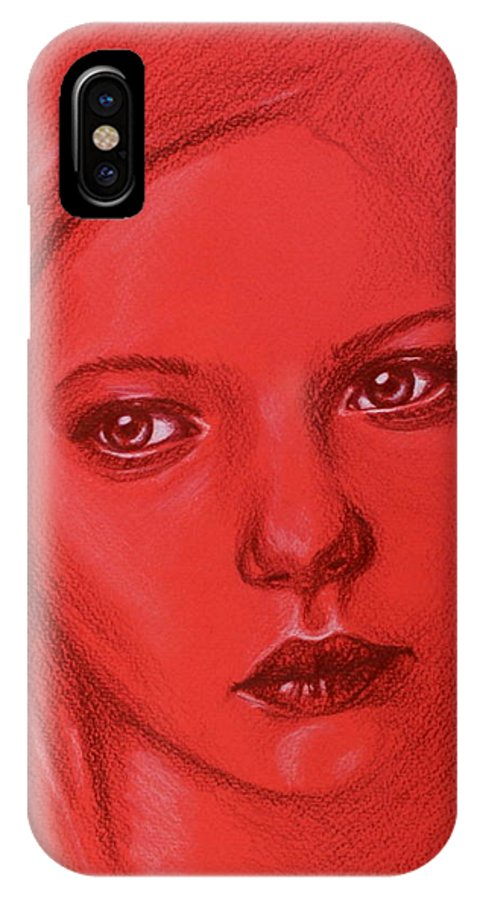 Red IPhone X Case featuring the drawing Beyond Lost by Louise Nylander