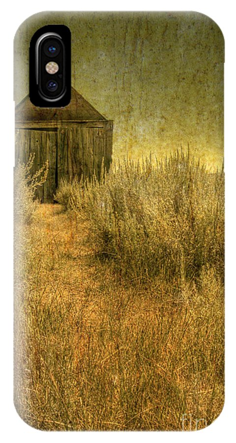 Barn; Shed; Wood; Wooden; Country; Countryside; Desert; Deserted; Worn; Abandoned; Boards; Ruins; Grasses; Hills; Path IPhone X Case featuring the photograph Beyond The Weeds by Margie Hurwich