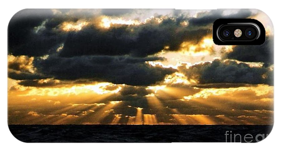 Sunset IPhone X Case featuring the photograph Crepuscular Biblical Rays At Dusk In The Gulf Of Mexico by Michael Hoard