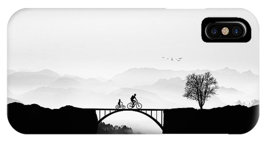Silhouette IPhone X Case featuring the photograph Bicycle Ride by Bess Hamiti