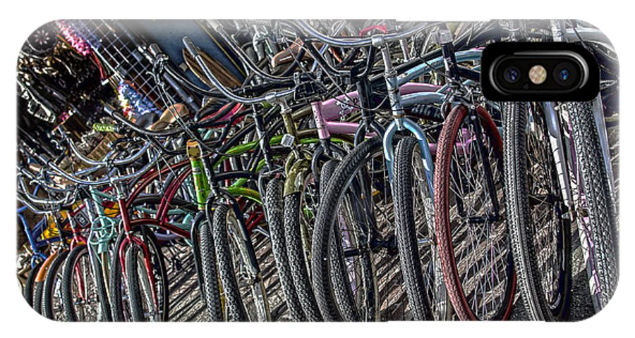 Bicycles IPhone X Case featuring the photograph Bicycles For Rent by Camille Lopez