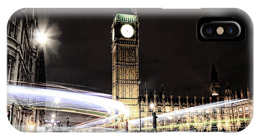 Big Ben IPhone X Case featuring the photograph Big Ben With Light Trails by Jasna Buncic