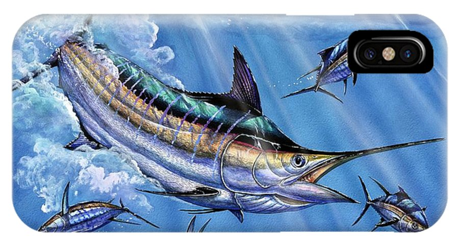 Blue Marlin IPhone X Case featuring the painting Big Blue And Tuna by Terry Fox