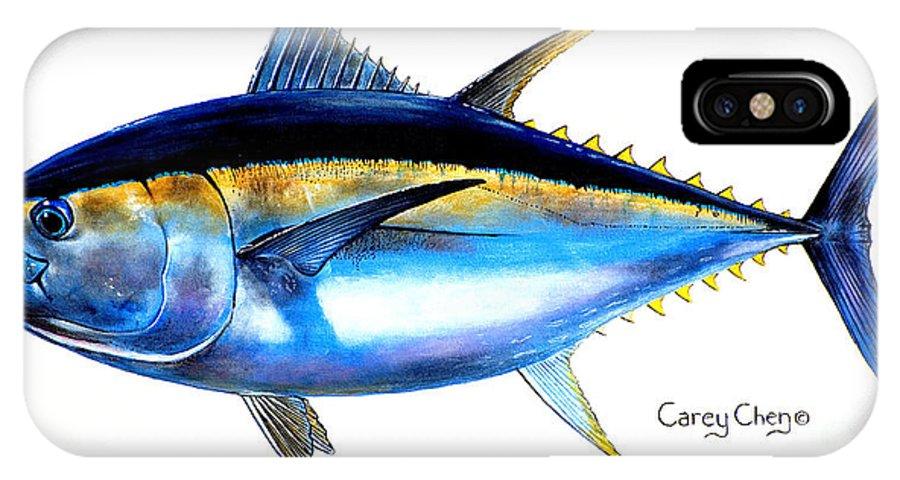 Tuna IPhone X Case featuring the painting Big Eye Tuna by Carey Chen
