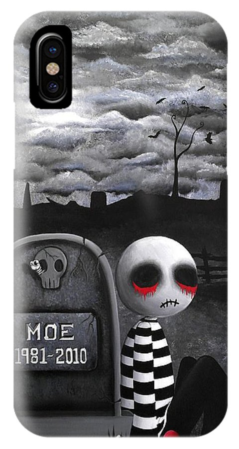 Creepy Cute IPhone X Case featuring the painting Big Juicy Tears Of Blood And Pain No.10 by Lizzy Love of Oddball Art Co