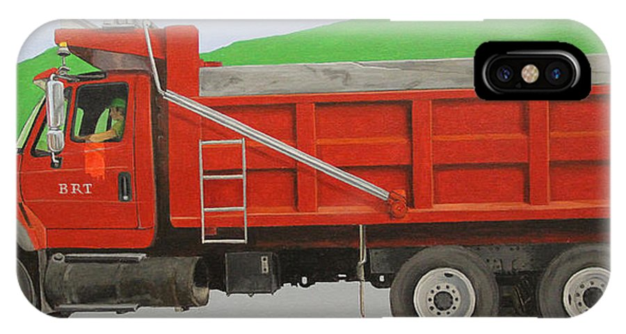 Landscape IPhone X Case featuring the painting Big Red Truck by Paul Chapman